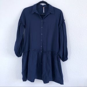 FP   balloon sleeved button front chambray dress